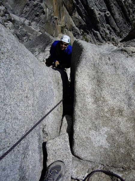 Rock Climbing Photo: Jugging up to Salathe ledge on the Lost Arrow Spir...