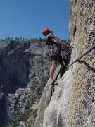 Rock Climbing Photo: Leading out from Salathe ledge, Lost Arrow Spire.