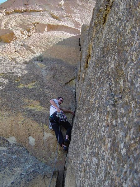 Climbing the Spiderman Buttress at Smith Rocks, OR.