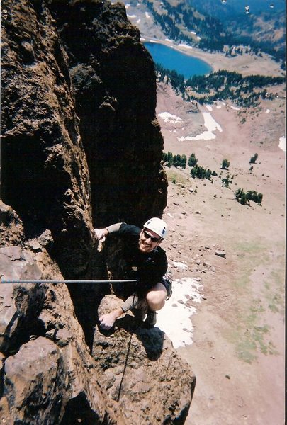 Finishing pitch 2 on Tangerine Dream (4 pitch II 5.9+) Lassen Volcanic National Park.