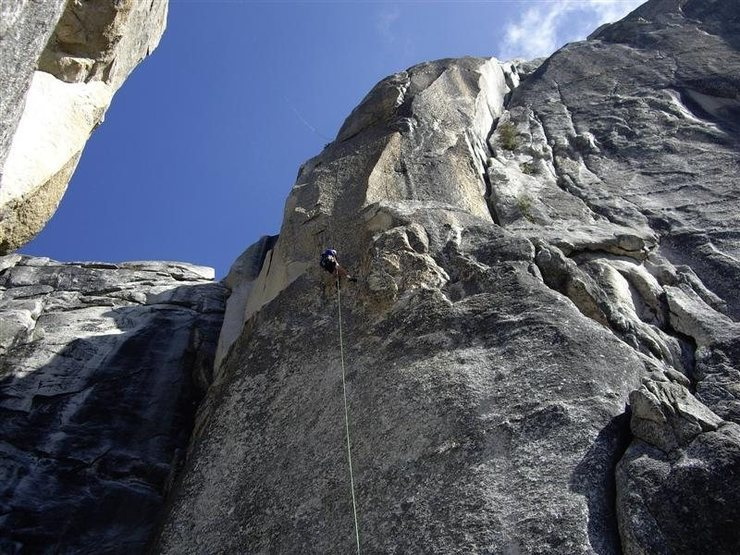 Rappelling into the notch--Lost Arrow Spire, Yosemite.