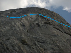 Rock Climbing Photo: On the Lamb. The blue line runs just below the loc...
