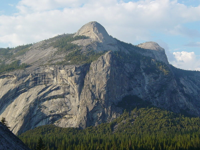 North Dome, Washington Column, and Royal Arches as seen from the Glacier Point Apron.