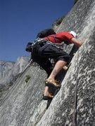 Rock Climbing Photo: Climbing the 5.7 pin scars on the Royal Arches rou...