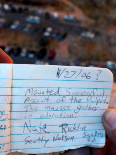 Rock Climbing Photo: Summit log