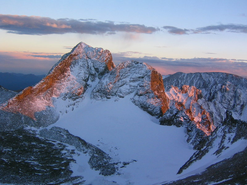 A forbidden beauty. The lovely (but off limits) Arikaree Peak, 13,150', at sunset.  Nov. '04.