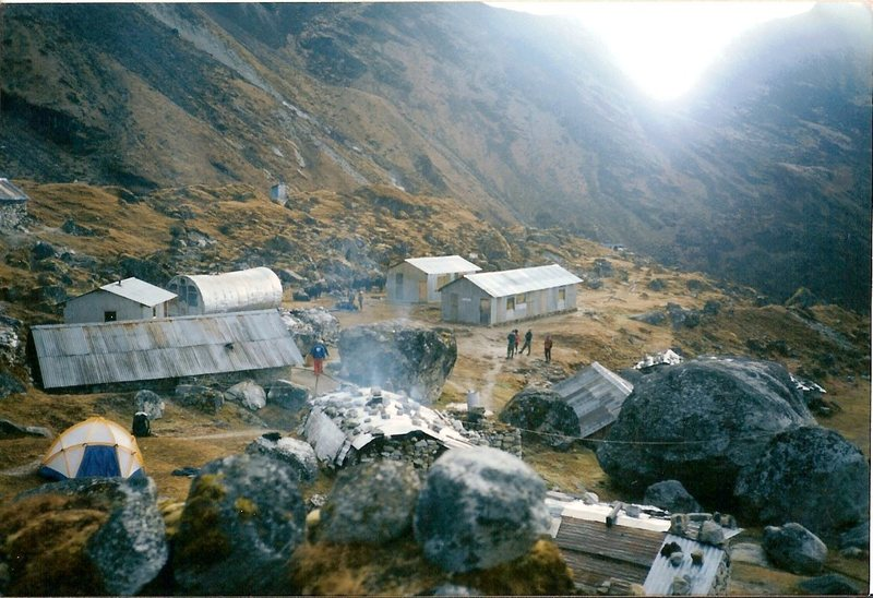 The Himalayan Mountaineering Institute basecamp in Sikkim. The large, long, tubular building is the infirmary that was donated by Sir Edmund Hillary.
