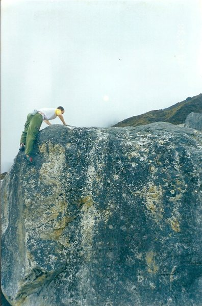 Topping-out the basecamp boulder.