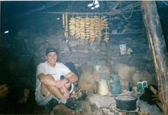 Rock Climbing Photo: Inside the hut: Yak cheese is curing, and Yak milk...