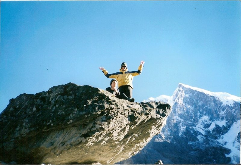 Sun salutations with the southwest face of Pandim in the background. To date, Pandim remains unclimbed. Three attempts mounted by the Indian Army ended after multiple tragic fatalities occurred.