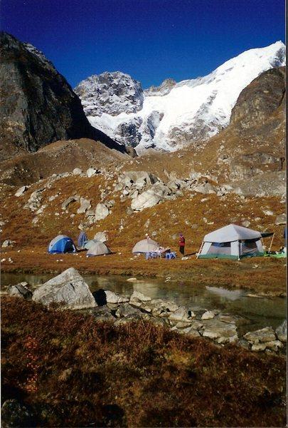 Rock Climbing Photo: Camp at Samiti Pokhari with Kabru North in the bac...