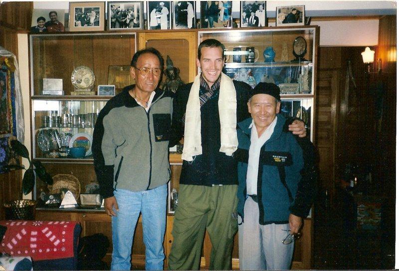 Phursumba Sherpa, Myself, and Nawang Gombu at Gombu's house in Darjeeling India.