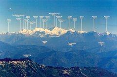 Kanchendzonga massif locator map. Sikkim, India.