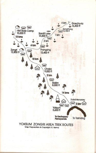 Sikkim trek map.