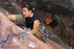 Rock Climbing Photo: Climbing through the crux on Upper Diagonal 5.9 at...