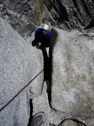 Rock Climbing Photo: Jugging up to Salathe Ledge trailing the rap line ...
