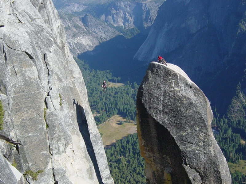 Rock Climbing Photo: Notice the rope configuration: the climber is on a...