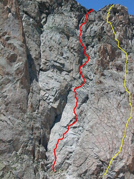 This is the same picture Justin submitted.  (I hope you don't mind that I borrowed it).  The yellow line shows the approximate line that we climbed, as I described in my comments on the route.  We definitely felt that we were on route the whole way (although I climbed this many years ago, so the yellow line is approximate).  Hopefully this might clarify.  Henry, any comments?