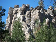 Rock Climbing Photo: Pull My Finger climbs the left skyline. Climber vi...