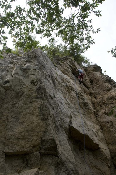 Rock Climbing Photo: The line going up over the two roofs is Roof Burne...