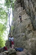 Rock Climbing Photo: Gwen's first lead on Cinq Jour D'Affille.  Good be...