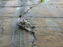 Rock Climbing Photo: shaking out after the second crux