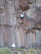 """Rock Climbing Photo: Mark Schraad heading up the """"Unnamed (thin cr..."""