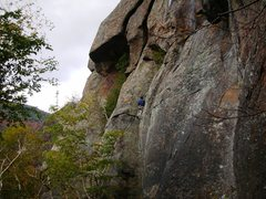 Rock Climbing Photo: Near the top of Mr. Clean (5.8) at the Barkeater C...