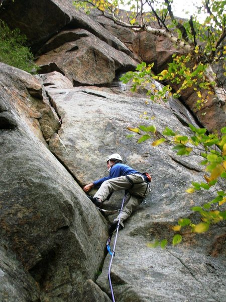Rock Climbing Photo: Near the end of Big Bertha (5.6) at the Barkeater ...