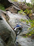 Rock Climbing Photo: Near the end of Big Bertha (5.6) at the Barkeater ...