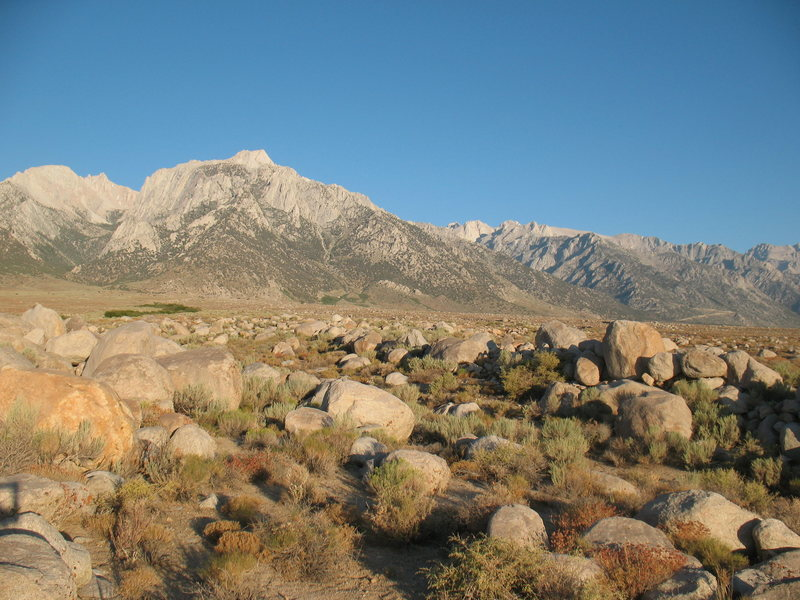 Lone Pine Peak from Horseshoe Meadows CG, Lone Pine Area.