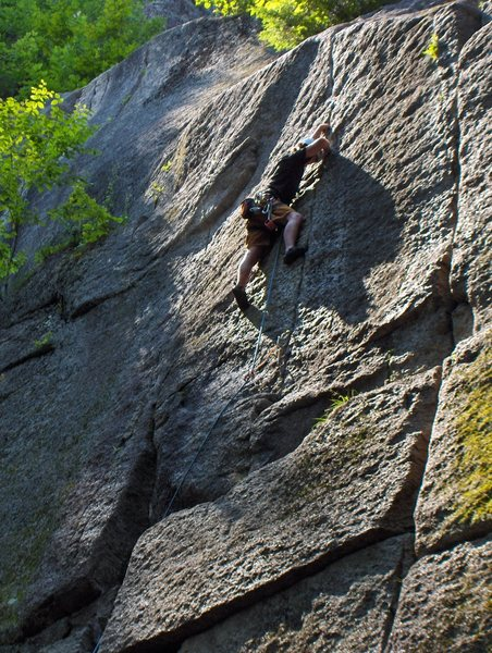 Near the end of Bird's Nest (5.9-) at Cathedral Ledges.