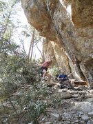Rock Climbing Photo: Mike stops about two feet off the ground after his...