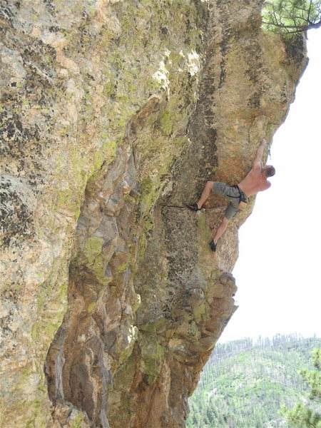 Vince Bates nearing the final moves of the George of the Jungle finish to Green Monster.