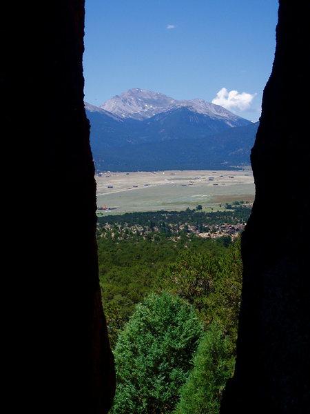 Rock Climbing Photo: Mt. Yale framed by Split Rock.