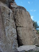 Rock Climbing Photo: No Left Turn climbs the face on the left of the wi...