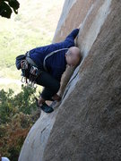 Rock Climbing Photo: Finishing the first, harder, crux move on Orange S...