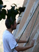 Rock Climbing Photo: Thomas Nowotny contemplating the second crux on Or...