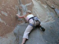 Rock Climbing Photo: Rebecca Manley moving off the high right foot--the...