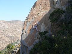 Rock Climbing Photo: Rebecca Manley on the second crux move of Orange S...
