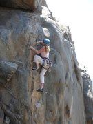Rock Climbing Photo: Rebecca Manley working the surprisingly awkward fi...