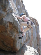 Rock Climbing Photo: Rebecca Manley working the slightly awkward move o...