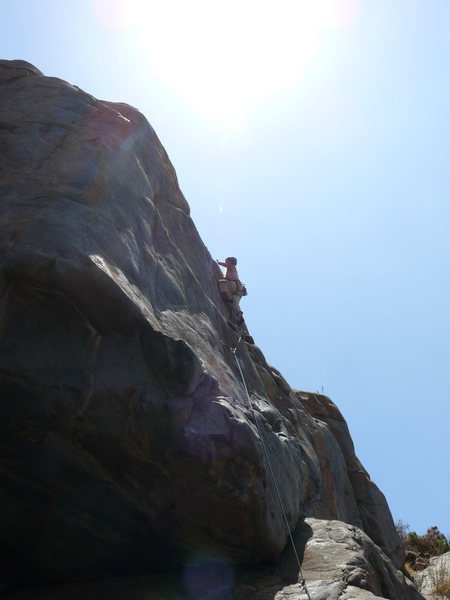 Rock Climbing Photo: Rebecca Manley finishing up the lead of Suzie's Wi...