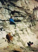 Rock Climbing Photo: Peter and dogs below Waves Once Lapped Here....