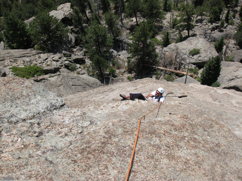 Rock Climbing Photo: Both cruxes are visible in this photo.  Scory's on...