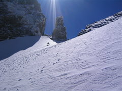 Rock Climbing Photo: Climber nearing the top of the snowfield.  Nov. 04