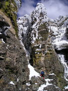 Rock Climbing Photo: The West Chimney, class 4 when dry, is a good opti...