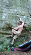 Rock Climbing Photo: moving into the problem. The left foot is the star...