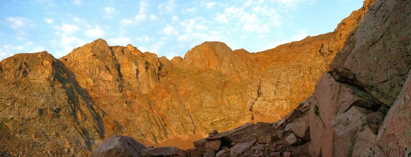 Alpenglow in the South Cirque of Pikes Peak's East Face.