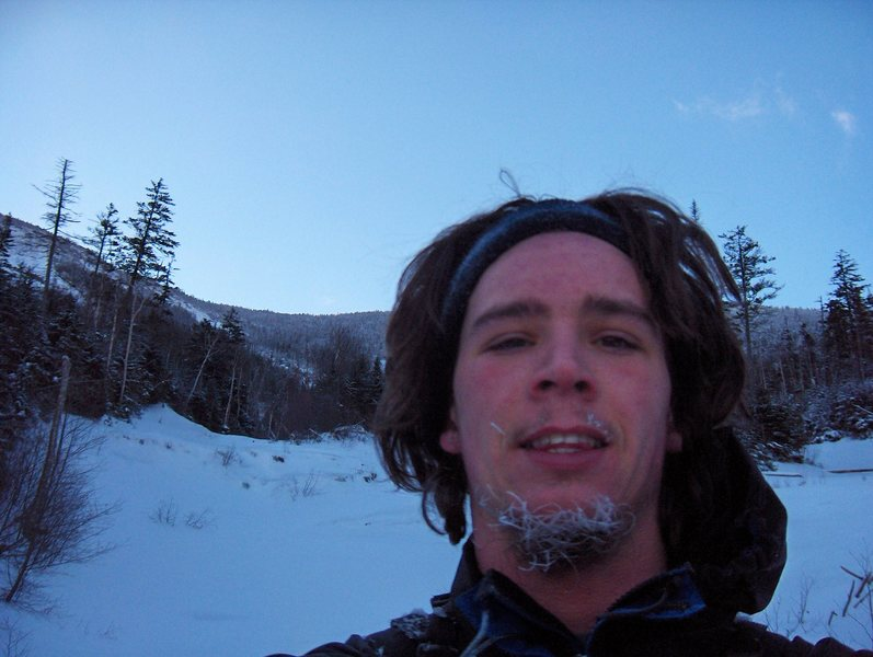 Just call me Frosty. Heading up the Boquet Slide on Dix Mtn. in Adirondack Park NY